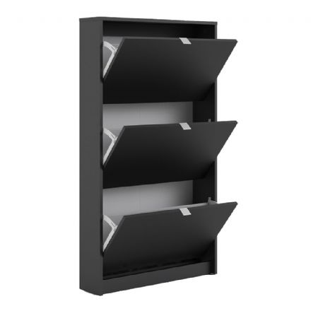 Shoes Shoe cabinet w. 3 tilting doors and 1 layer in Matt Black